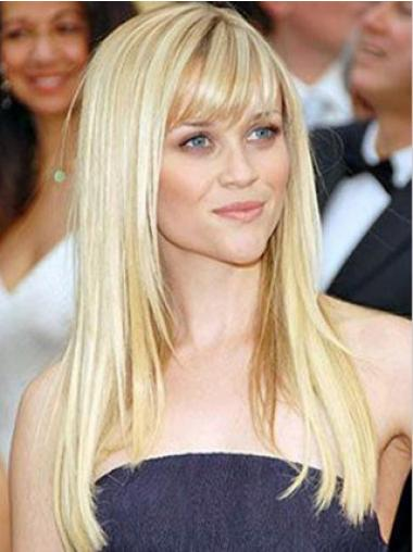 Hairstyles Blonde 100% Hand-tied Straight Long Wigs