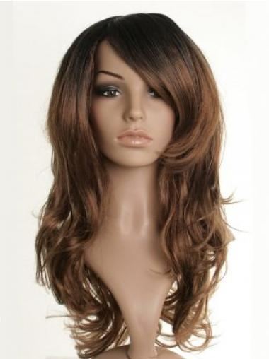 Brown With Bangs Wavy Durable Celebrity Wigs
