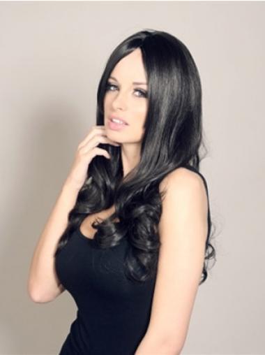 Wavy Black Without Bangs Stylish Celebrity Wigs