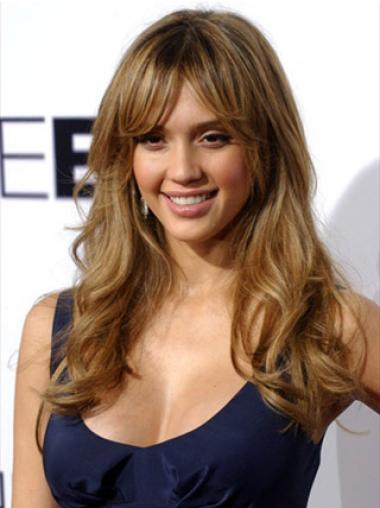 Brown With Bangs Wavy Best Jessica Alba wigs