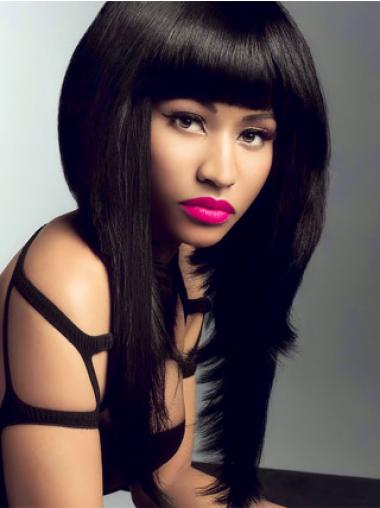 Straight Black Indian Remy Hair Fashion Nicki Minaj wigs