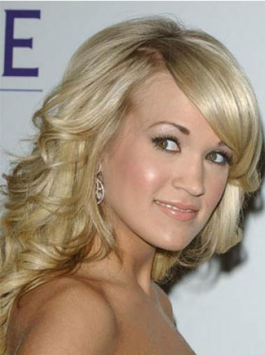 Blonde With Bangs Wavy Modern Celebrity Wigs