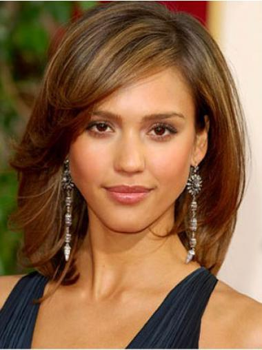 Brown Layered Straight Sleek Jessica Alba wigs