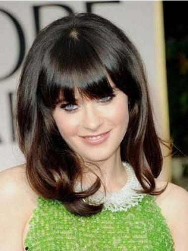 Brown With Bangs Wavy Amazing Celebrity Lace Wigs