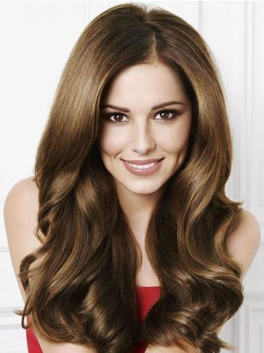 Brown Without Bangs Wavy Sassy Cheryl Cole wigs