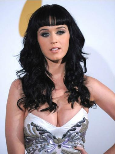Wavy Black With Bangs Exquisite Katy Perry wigs