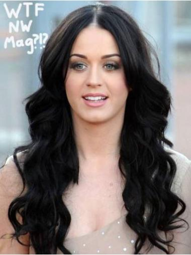 Black 100% Hand-tied Wavy Perfect Long Wigs