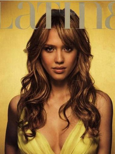 Wavy Brown Layered Exquisite Jessica Alba wigs