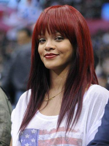Red Indian Remy Hair Straight Online Rihanna wigs