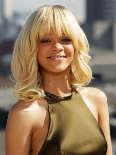 Curly Blonde With Bangs Designed Rihanna wigs