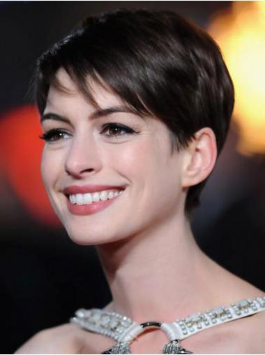 Straight Brown Boycuts Fabulous Anne Hathaway wigs