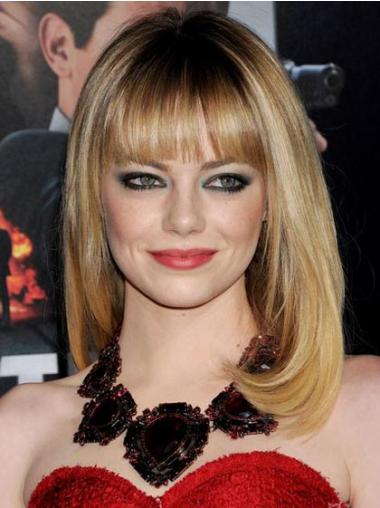 Blonde With Bangs Synthetic Sleek Celebrity Wigs