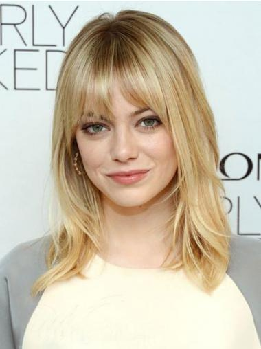 Straight Blonde With Bangs Convenient Celebrity Wigs