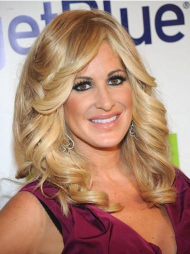 Blonde With Bangs Wavy Top Kim Zolciak wigs