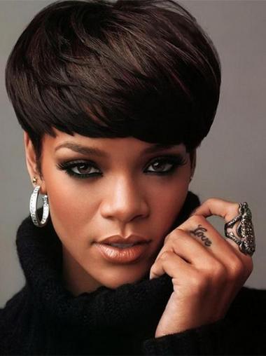 Straight Boycuts Black Beautiful Rihanna wigs