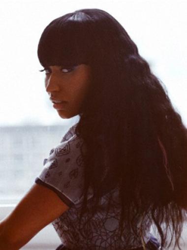 Wavy Black With Bangs Comfortable Nicki Minaj wigs