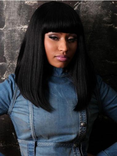 Straight Black Indian Remy Hair Durable Nicki Minaj wigs