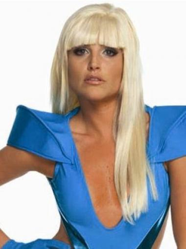 Straight Blonde With Bangs Incredible Lady Gaga wigs
