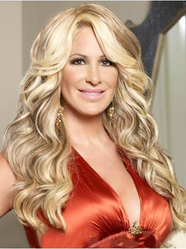 Wavy Blonde With Bangs Affordable Kim Zolciak wigs