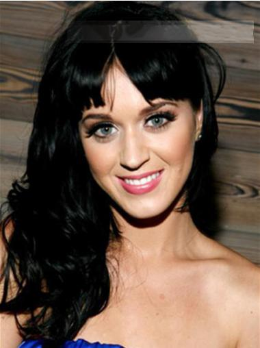 Wavy Black With Bangs Durable Katy Perry wigs
