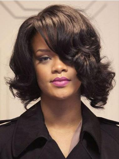 Brown Indian Remy Hair Wavy Natural Rihanna wigs