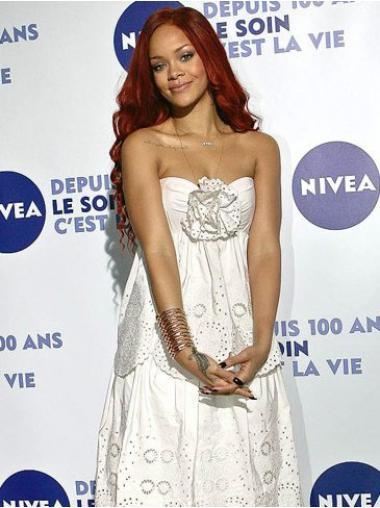 Red Without Bangs Wavy Modern Rihanna wigs