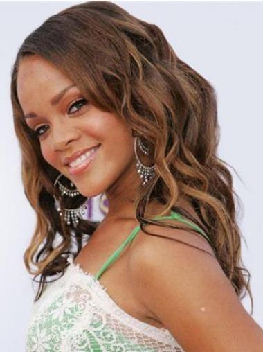 Brown Brazilian Remy Hair Wavy Modern Rihanna wigs