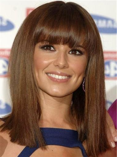 Straight Brown With Bangs Affordable Cheryl Cole wigs
