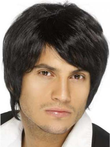 Black Straight Natural Men Wigs