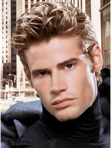 Cropped Brown Remy Human Hair Natural Men Wigs