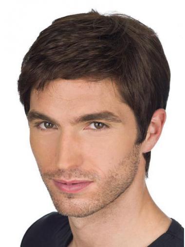 Brown Remy Human Hair Popular Men Wigs