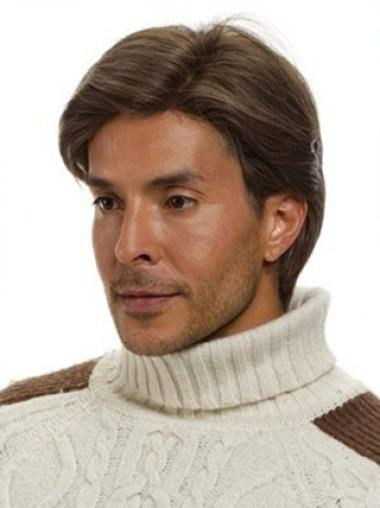 Brown Remy Human Hair High Quality Men Wigs