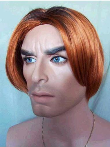 Straight Auburn Cheap Men Wigs