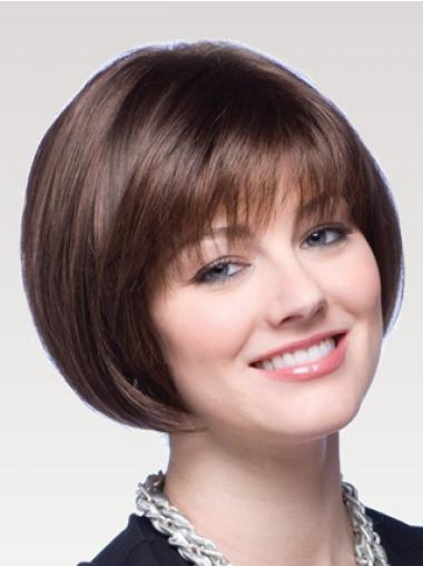 Chin Length Straight Auburn Perfect Bob Wigs