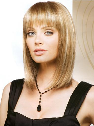 Synthetic Blonde Straight Exquisite Medium Wigs
