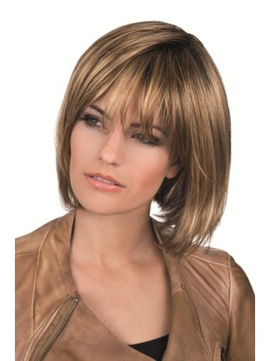 Brown Bobs Straight Soft Medium Wigs