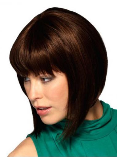 Chin Length Auburn Straight Durable Bob Wigs