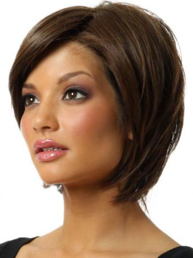 Brown Chin Length Straight Discount Bob Wigs