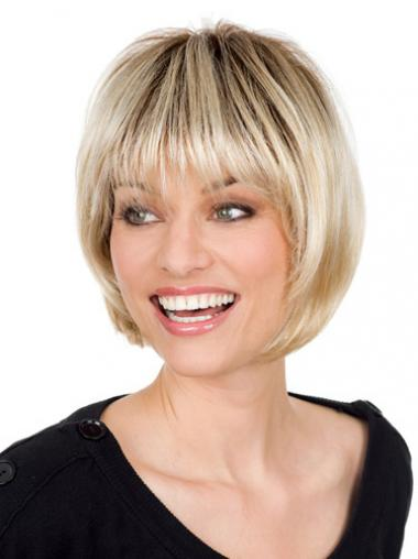 Straight Blonde With Bangs High Quality Short Wigs