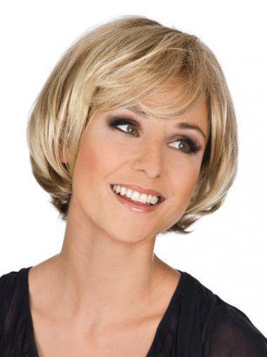 Blonde Synthetic Wavy Style Medium Wigs