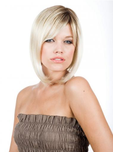 Straight Blonde Bobs Designed Medium Wigs
