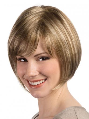 Straight Blonde Bobs Convenient Short Wigs
