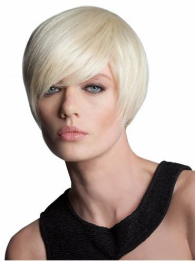 Straight Blonde With Bangs Discount Bob Wigs