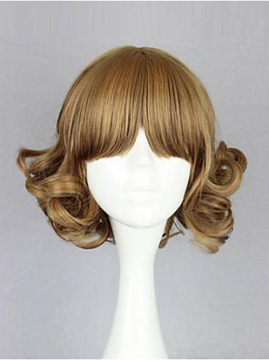 Wavy Blonde With Bangs Affordable Bob Wigs