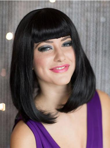 Black With Bangs Straight Hairstyles Bob Wigs