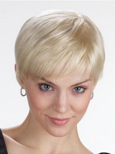 Straight Blonde Lace Front Comfortable Short Wigs