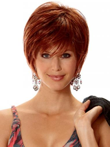 Auburn Layered Straight Modern Short Wigs