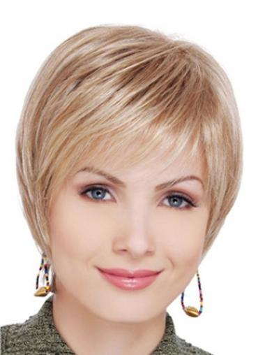 Blonde Synthetic Straight Suitable Short Wigs