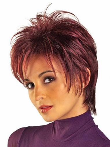 Red Boycuts Straight Cheap Short Wigs