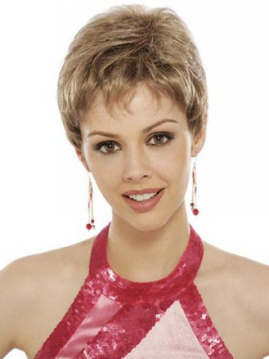 Blonde Synthetic Wavy Designed Short Wigs